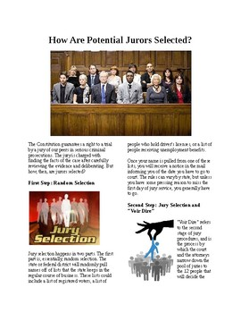 Info Reading Text - Jury Duty: How are Jurors Selected (no prep/sub plans)