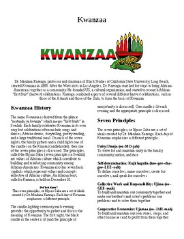 Info Reading Text - Kwanzaa (no prep/sub plans)