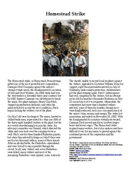 Info Reading Text - Labor History: The Homestead Strike (no prep/sub plans)