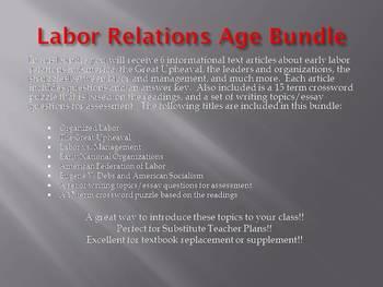 Info Reading Text - Labor Relations Bundle (no prep/sub plans)
