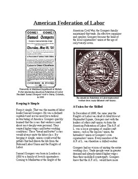 Info Reading Text - Labor Relations: The American Federation of Labor (no prep)