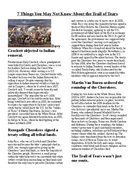 Info Read Text/Vocab - Little Known Facts about the Trail of Tears (no prep/sub)