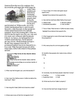 Info Reading Text/Vocab - Facts of the California Gold Rush (no prep/sub)