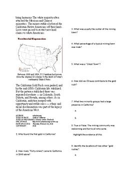 Info Reading Text - Manifest Destiny: Gold in California (no prep/sub plans)