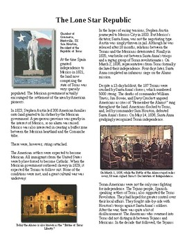 Info Reading Text - Manifest Destiny: Texas, the Lone Star Republic (no prep)