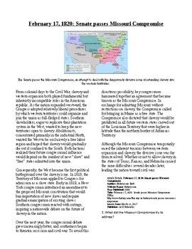 Info Reading Text - Missouri Compromise Passed (no prep/sub plans)
