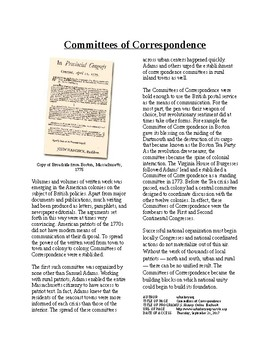 Info Reading Text - Moving Toward Independence: Committees of Correspondence