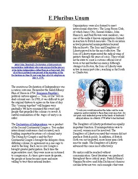 Info Reading Text - Moving Toward Independence: E Pluribus Unum (no prep)