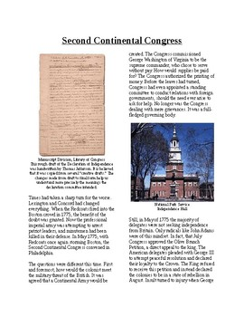 Info Reading Text - Moving Toward Independence: Second Continental Congress