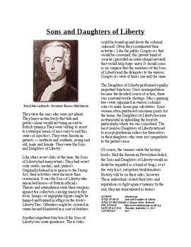 Info Reading Text - Moving Toward Independence: Sons and Daughters of Liberty