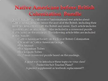 Info Reading Text - Native American before British Colonization Bundle (no prep)