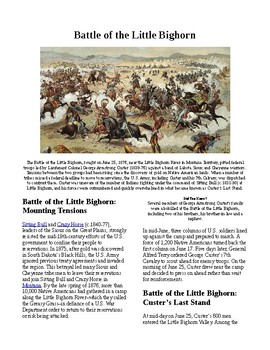 Info Reading Text - Native Americans: Battle of Little Bighorn (no prep/sub)