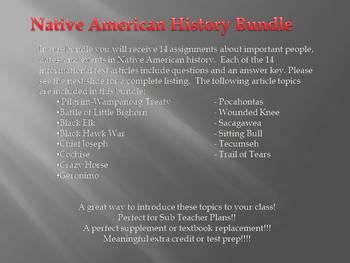 Info Reading Text - Native Americans Bundle (no prep/sub plans)