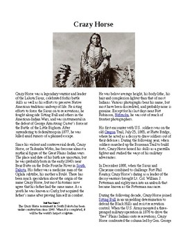 Info Reading Text - Native Americans: Crazy Horse (no prep/sub plans)