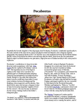 Info Reading Text - Native Americans: Pocahontas (no prep/sub plan)
