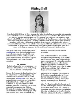 Info Reading Text - Native Americans: Sitting Bull (no prep/sub plans)