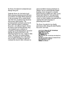 Info Reading Text - Native Americans: The Dawes Act is Passed (no prep/sub)
