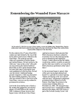 Info Reading Text - Native Americans: The Wounded Knee Massacre (no prep)