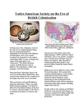 Info Reading Text - Native Americans before British: Eve of British Colonization