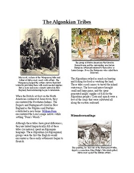 Info Reading Text - Native Americans before British: The Algonkian Tribes