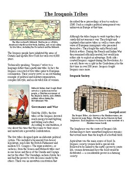 Info Reading Text- Native Americans before British: The Iroquois Tribes (no prep