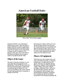 Info Reading Text -Phyical Education: The Rules and History of American Football