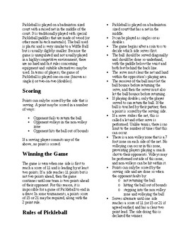 Info Reading Text - Physical Educaiton: The History and Rules of Pickleball