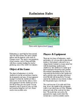 Info Reading Text - Physical Education: The History and Rules of Badminton