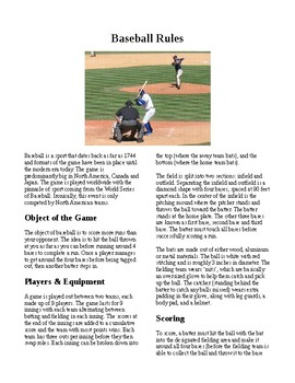 Info Reading Text - Physical Education: The History and Rules of Baseball