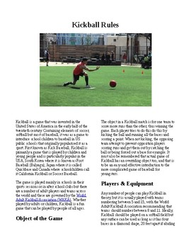 Info Reading Text - Physical Education: The History and Rules of Kickball