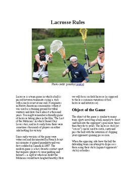 Info Reading Text - Physical Education: The History and Rules of Lacrosse