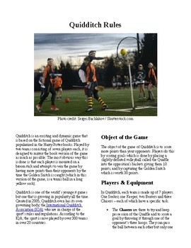 Info Reading Text - Physical Education: The History and Rules of Quidditch