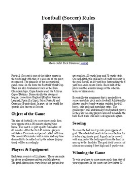 Info Reading Text - Physical Education: The History and Rules of Soccer