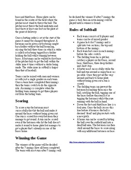 Info Reading Text - Physical Education: The History and Rules of Softball