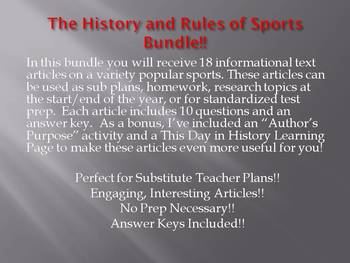 Info Reading Text - Physical Education: The History and Rules of Sports Bundle!!