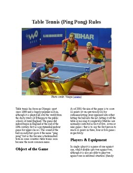 Info Reading Text - Physical Education: The History and Rules of Table Tennis