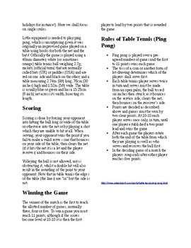 Info Reading Text Physical Education The History And Rules Of Table Tennis