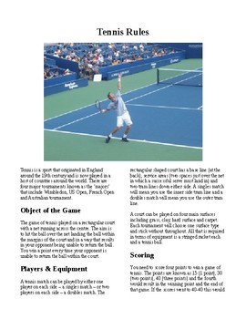 Info Reading Text - Physical Education: The History and Rules of Tennis