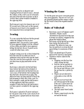 Info Reading Text - Physical Education: The History and Rules of Volleyball