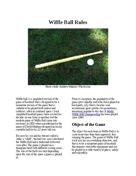 Info Reading Text - Physical Education: The History and Rules of Wiffle Ball