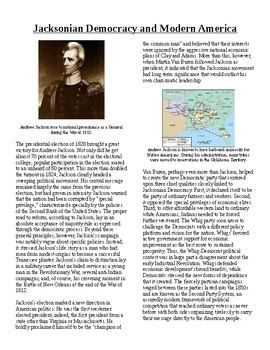 Jackson Democracy Worksheets & Teaching Resources | TpT