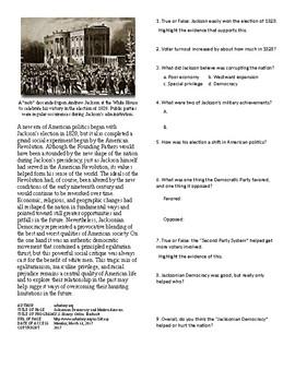 Info Reading Text: Politics and the New Nation: Jacksonian Democracy (no prep)