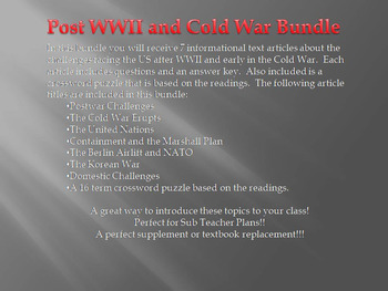 Info Reading Text - Post WWII Challenges and Cold War Bundle (no prep/sub plan)