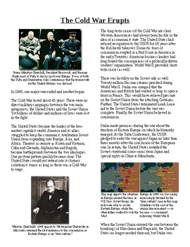 Info Reading Text - Postwar Challenges: The Cold War Erupts (no prep/sub plan)