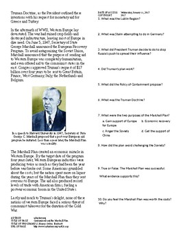 Info Reading Text - Postwar Challenges: The Marshall Plan (no prep/sub plans)