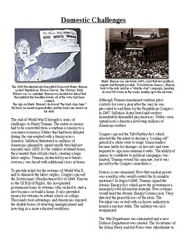 Info Reading Text - Postwar Challenges: Truman's Domestic Challenges (no prep)