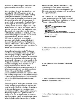 Info Text Vocab - President's Day: George Washington is Born (no prep/sub plan