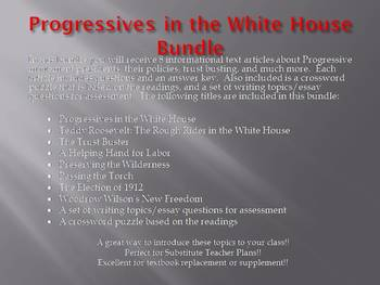 Info Reading Text - Progressives in the White House Bundle (no prep/sub plan)