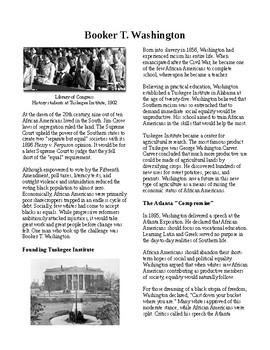 Info Reading Text - Progressivism: Booker T. Washington (no prep/sub plans)