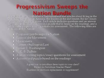 Info Reading Text - Progressivism Sweeps the Nation Bundle (no prep/sub plans)